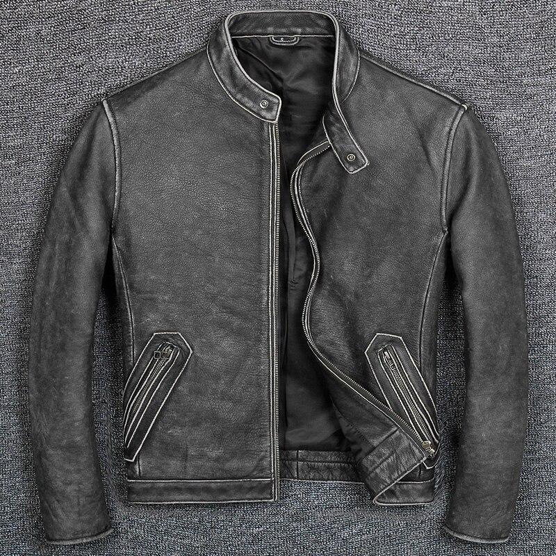 Новинка 2021, Мужская брендовая Классическая Повседневная стильная куртка из воловьей кожи, мужская одежда из 100% кожи, качественное мотоцикл...