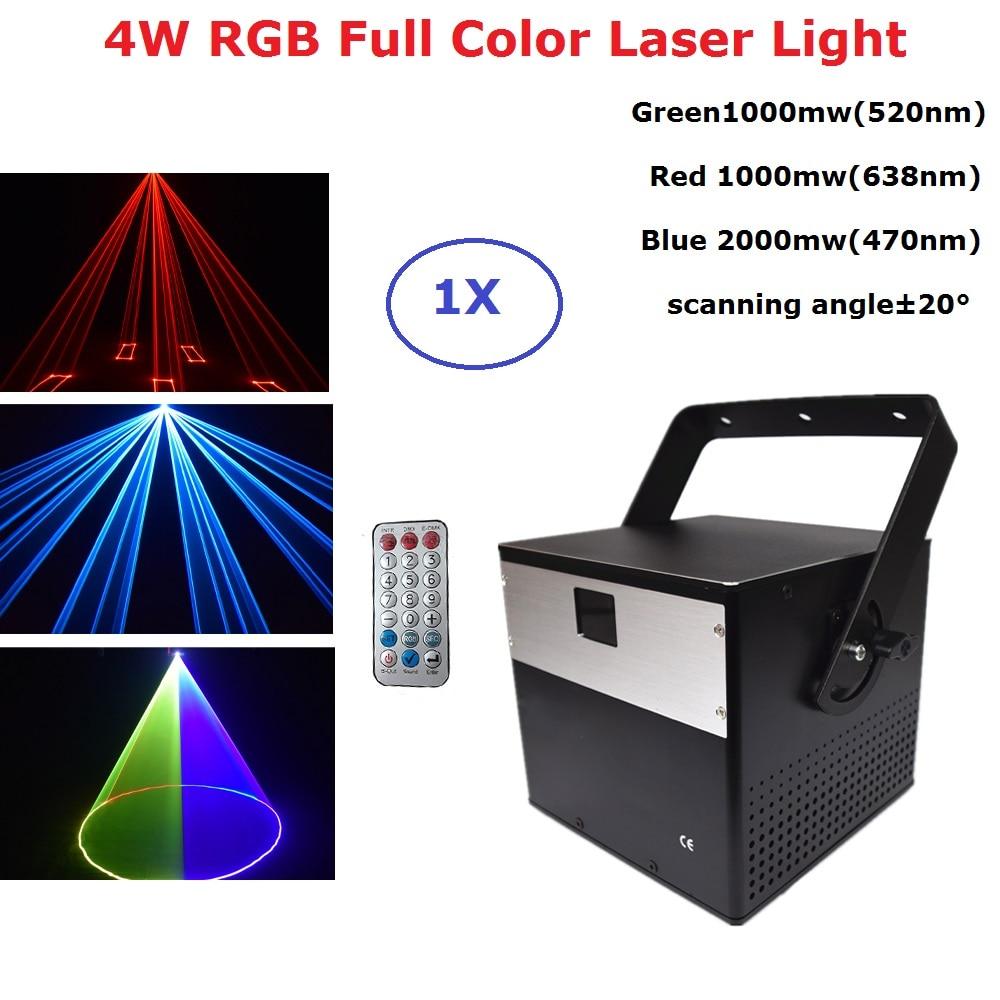 RGB 4W DMX512 Laser Scanner Projector Stage Lighting Effect Party Xmas DJ Disco Show Lights Full Color Animation Laser Light