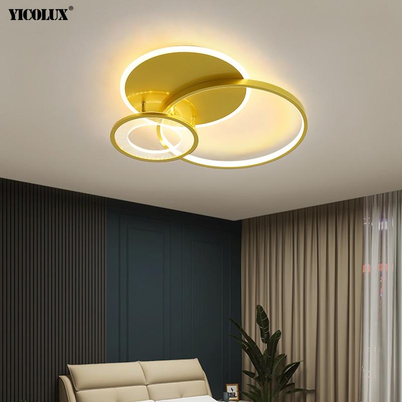 الذهبي بسيط جديد الحديثة LED الثريات أضواء لغرفة الطعام المعيشة غرفة نوم الممر مصابيح إضاءة داخلية عكس الضوء lumarie