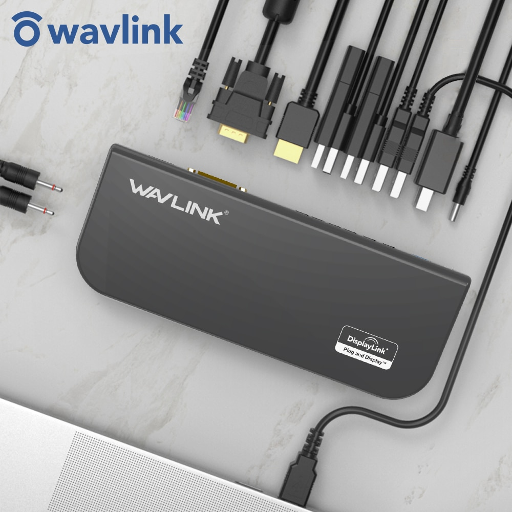 Wavlink USB 3.0 محطة الإرساء USB Hub المزدوج شاشة عرض الفيديو RJ45 جيجابت إيثرنت دعم 1080P DVI/HDMI-متوافق