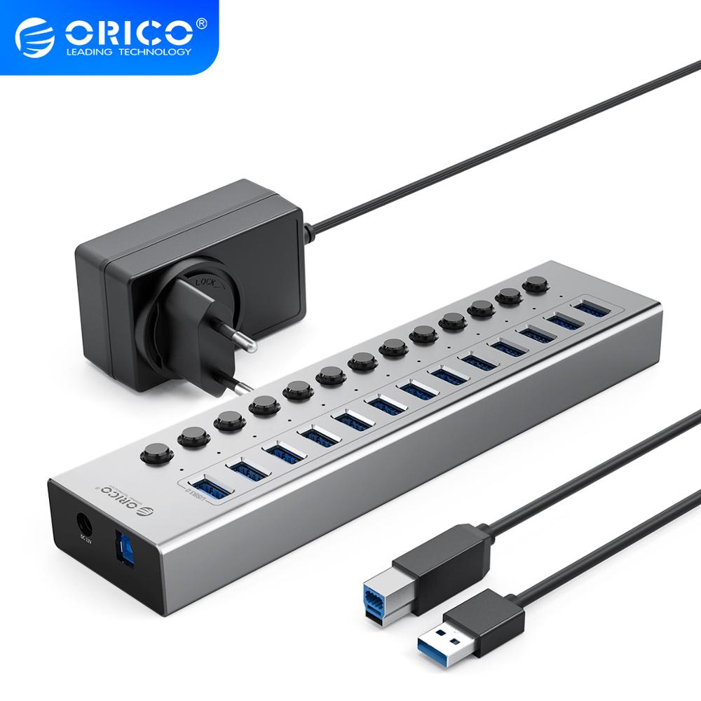 sipolar usb 10 port hub 2 0 charger with 12v 10a power adapter data transfer syncs and charging for cryptocurrency miners a 400 ORICO Industrial USB 3.0 HUB 13/16 Port Aluminum USB Splitter On/Off Switch With 12V Power Adapter Support Charging for Computer