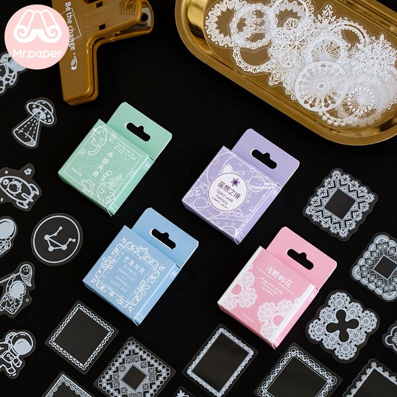 Mr papel 50 unids/caja de flores para mascotas paquete DIY publicado Kawaii planificador Scrapbooking pegatinas papelería suministros escolares
