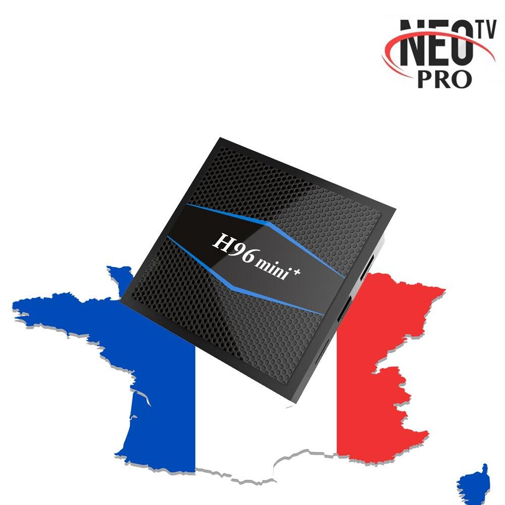 Francés NEOPRO TV H96 Mini + Plus Android 7,1 Dispositivo de TV inteligente 2G/16G con árabe Bélgica Marruecos M3U Set top Box