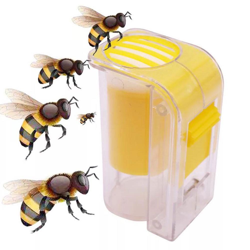 Queen Bee Marker Bottle Queen Bee Catcher Cage Plunger Plastic One Handed Beekeeping Garden Supplies Tool Yellow недорого
