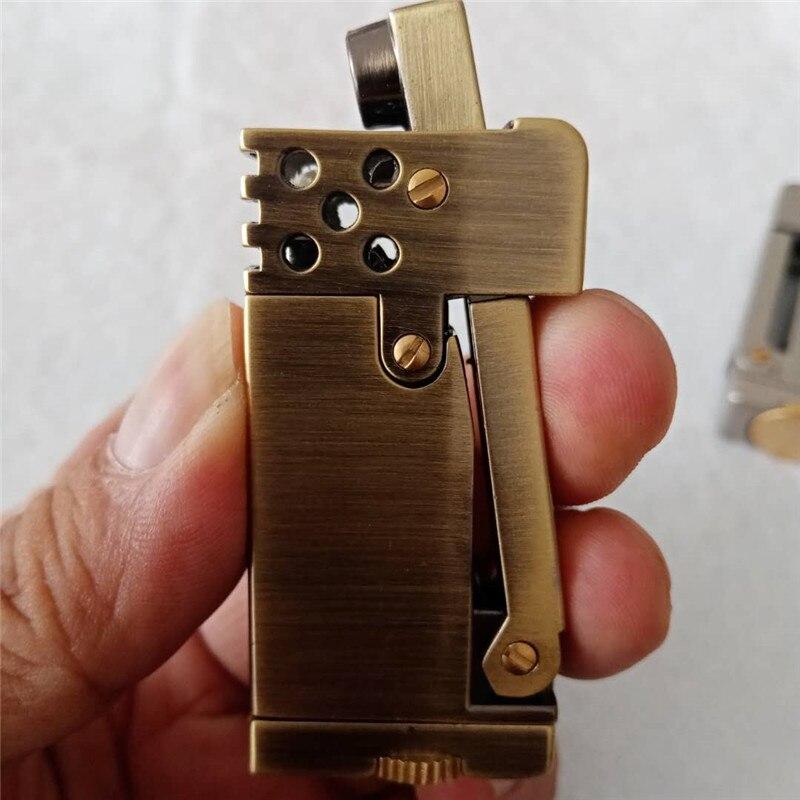 Portable Kerosene Lighter High-End Personality Creative Retro Grinding Wheel Flint Lighter Men Gift Cigarette Accessories