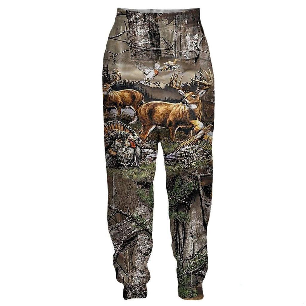 Олень Охотничий Камуфляж 3D сплошным принтом треники Harajuku модные брюки унисекс в стиле «хип-хоп» Повседневные малышовые штаны