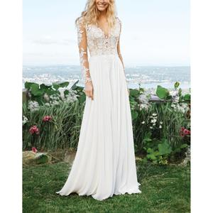 Modern White Chiffon Wedding Dress Scoop Long Sleeves Handworks Appliques Natural-Waisted Illusion A-line Court Vestido De Noiva