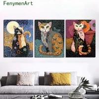 canvas painting abstract colorful cat poster print modern wall art picture gustav klimt oil painting living room home decoration