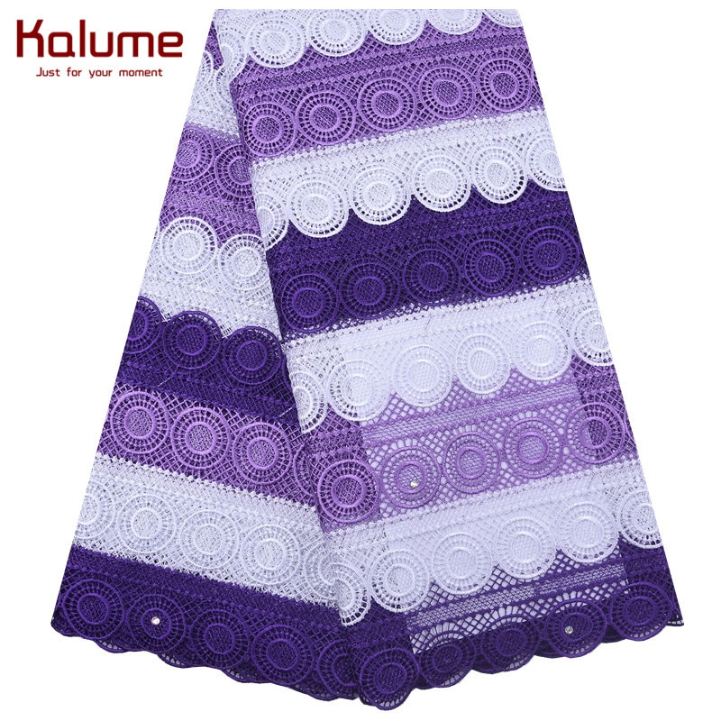 Tela de encaje seca Africana púrpura última alta calidad ojal agujeros Cordón de guipur encaje agradable Soluble en agua para la boda coser 1847