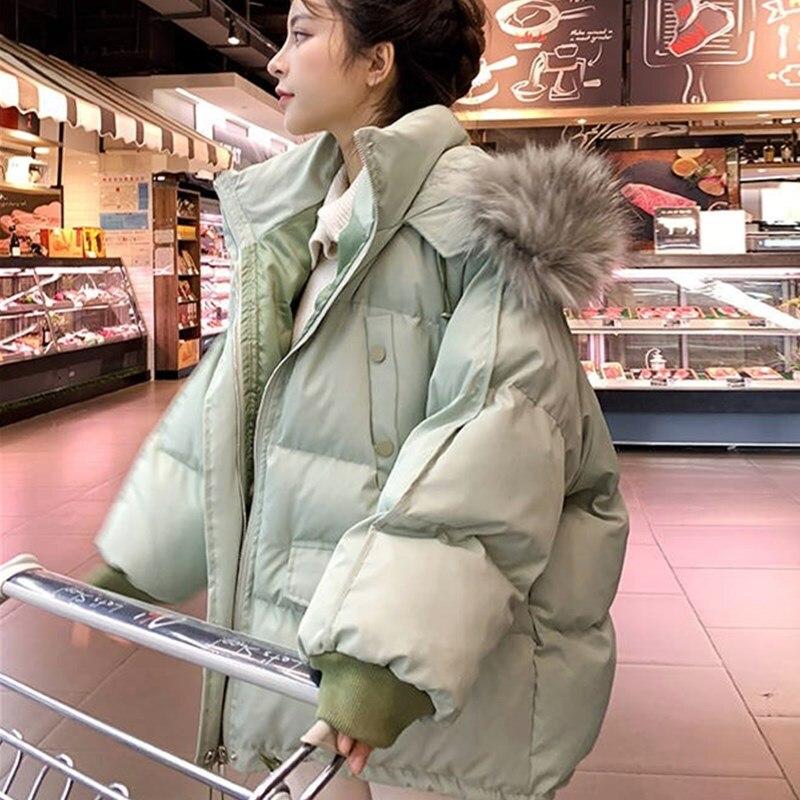 Piel grande Collar de abrigo con capucha 2020 las nuevas mujeres chaquetas...