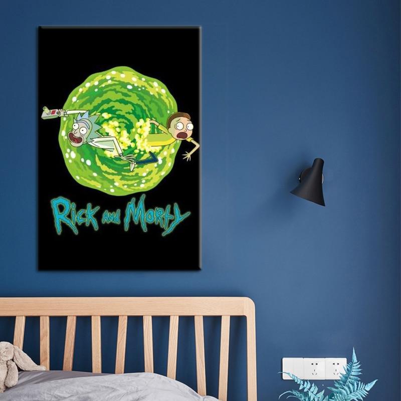 Leinwand Drucke плакат домашняя палочка Kunst нордическая Рик унд Морти малереи анимация модуляра Билдер фюр Wohnzimmer Dekoration Rahmen