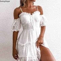 dress ladies fashion womens summer autumn embroidered hollow lace wrapped strap one sleeve pleated lace dress