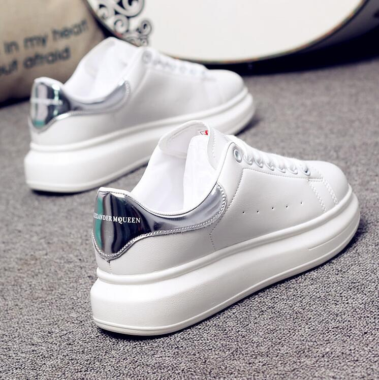 New Luxury Design High Quality Men and Women White Shoes Bottom Platform pqv Sneakers Casual Couple