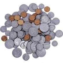 Avantage dapprentissage jouer jeu de pièces 20 demi-dollars, 20 quarts, 20 Dimes, 20 Nickels, 20 pièces de monnaie en plastique pour faire semblant de jouer