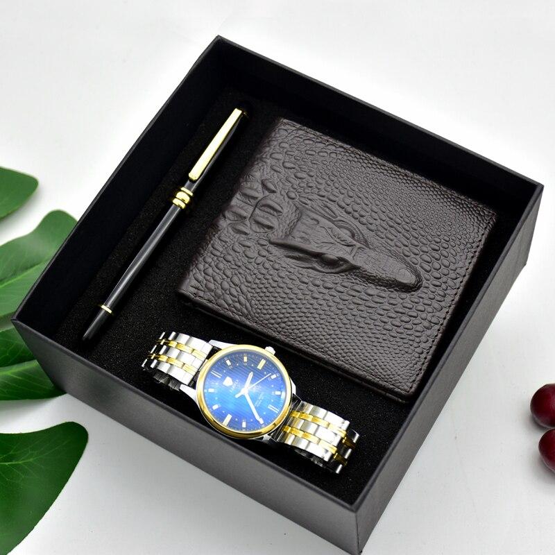 ساعة كوارتز من الفولاذ المقاوم للصدأ للرجال ، محفظة ، صندوق هدايا ، جودة عالية ، صندوق هدايا
