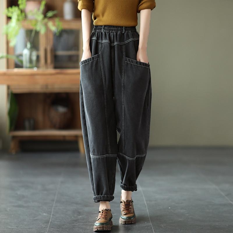 women clothing winter retro distressed washed denim velvet pants elastic waist thick Harlan harem pants