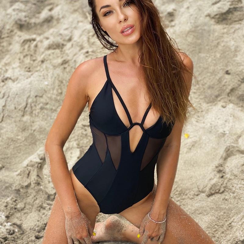 Traje de baño sexi de malla de una pieza, traje de baño de leopardo Push Up para mujer, traje de baño trikini 2020, Monokini, traje de baño para natación, ropa de playa de verano