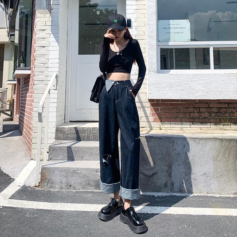 Kong Style Autumn Retro Street Style Asymmetric Stitching Ripped Jeans for Women Fashion Loose-Fitti