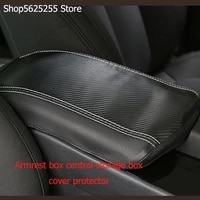 armrest box leather case control pad for hyundai santa fe 2019 2020 modified anti dirty protection car accessories