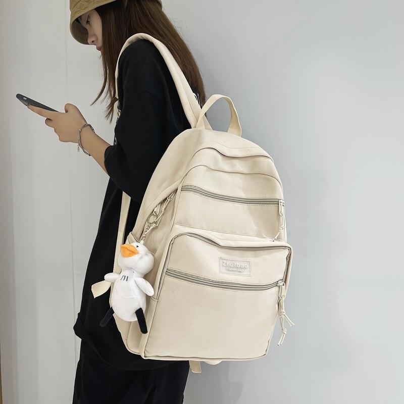 Модный нейлоновый водонепроницаемый мужской рюкзак, модный однотонный рюкзак для ноутбука с защитой от кражи, ранцы для женщин