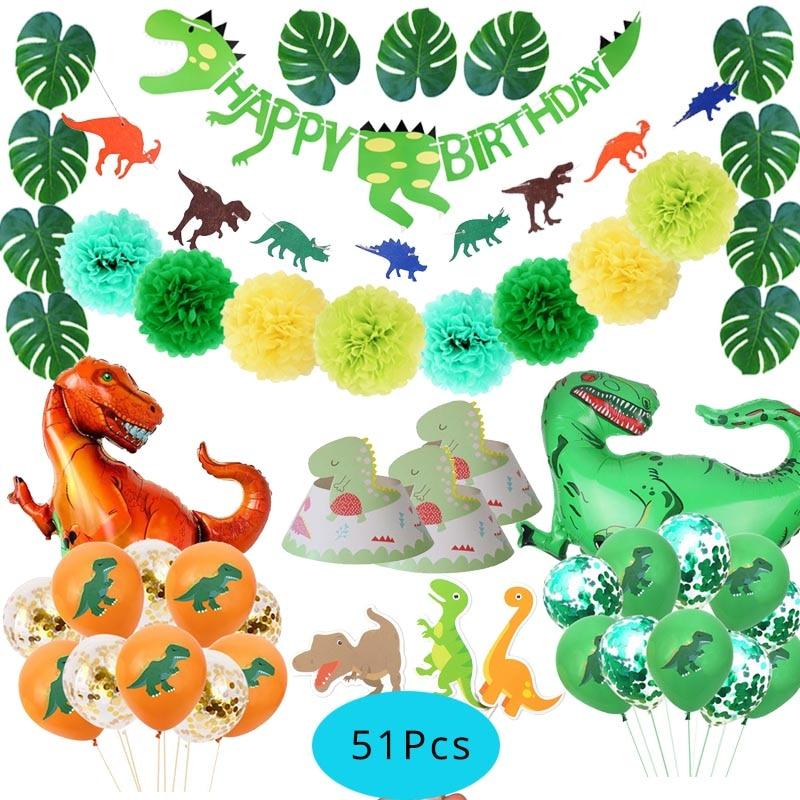 Suministros de fiesta Dino, globos de dinosaurio, vajilla desechable, decoración de fiesta de cumpleaños de niño, globo metalizado de animales para fiesta en la selva
