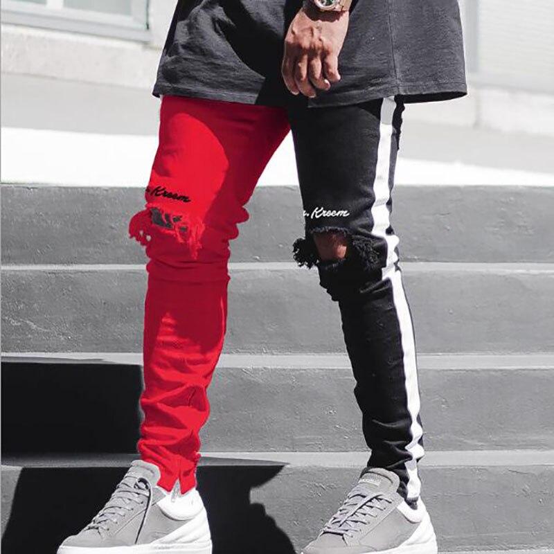 Men's jeans Slim Fashion pants streetwear ripped Pencil Pants Zipper Skinny Jeans For 2019 Spring su