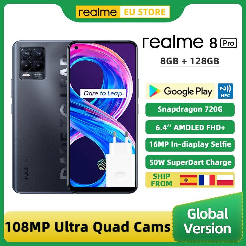 في المخزون Realme 8 برو النسخة العالمية الهاتف الذكي 8GB 128GB 6.4 ''شاشة 108MP جدا رباعية كاميرا أنف العجل 720G 4500mAh 50W NFC