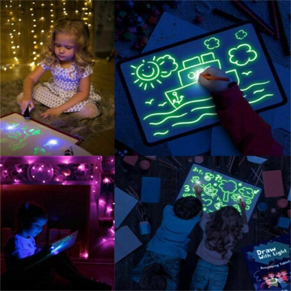 1 pc a3 pvc placa de desenho luminoso luz mágica no escuro fluorescente caneta crianças desenvolvimento engraçado brinquedo educativo o1143