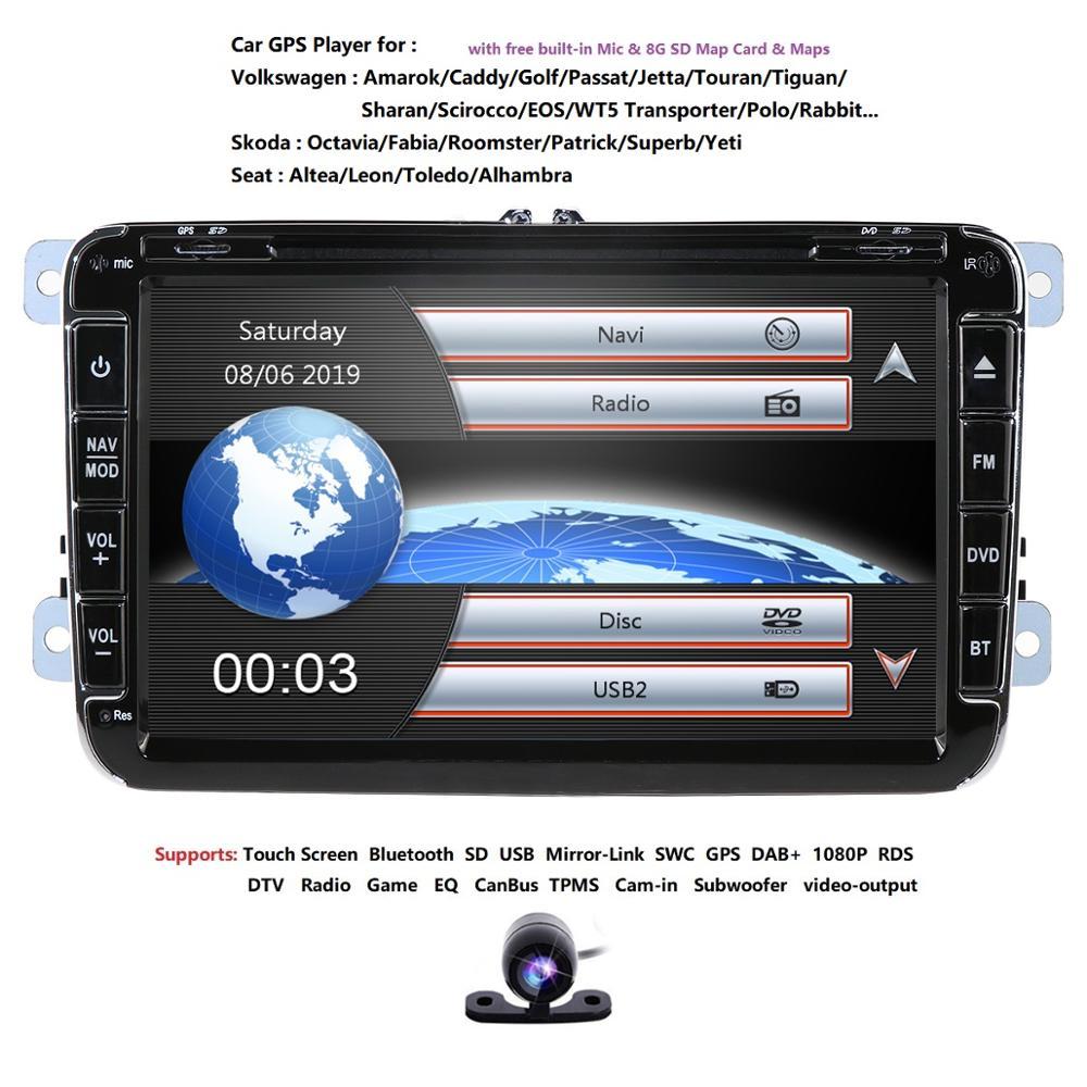 "Hizpo 2din 8 ""coche DVD Multimedia player navegación GPS Autoradio para VW/passat b6/asiento leon 2 Altea Toledo Skoda bt tpms rds cam"