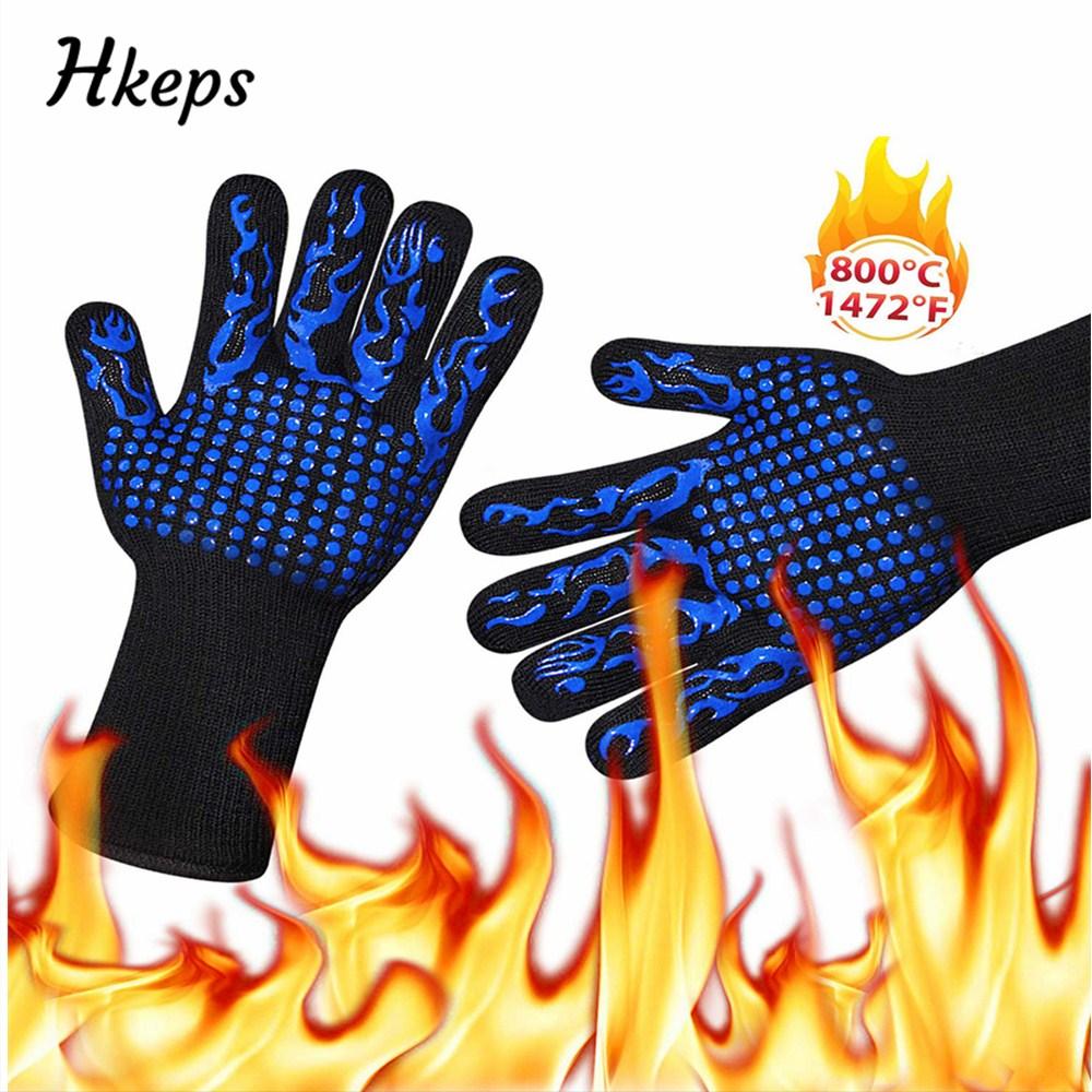 2019 alta temperatura 800 resistente a fuego de barbacoa guantes ignífugo antideslizante fuego parrilla aislamiento manoplas para horno o microondas