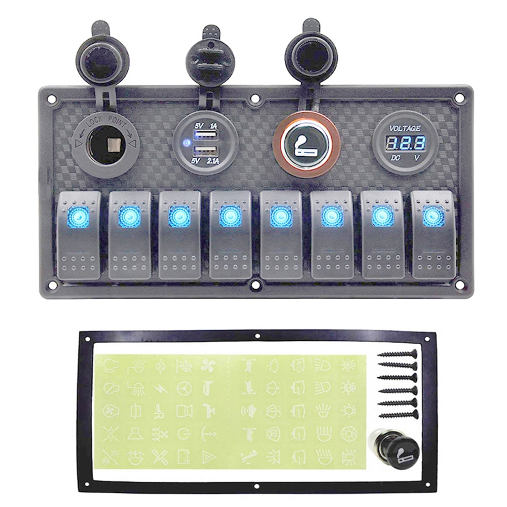 8 interruptor de alternância painel 12 24 24 v dupla usb tomada de energia + voltímetro + cigarro soquete interruptor do carro barco rocker switch painel