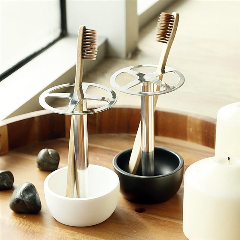 Juegos de accesorios de baño soporte de cepillo de dientes multifunción Base de acero inoxidable Almacenamiento de cepillos de dientes estante organizador de cepillos de maquillaje
