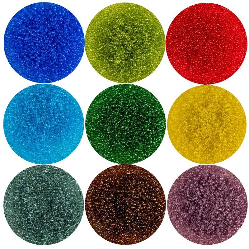 Cuentas de arroz de vidrio transparente 1000 Uds. 2mm cuentas sueltas multicolores para DIY collar de pulsera hecho a mano accesorios de Material de cuentas