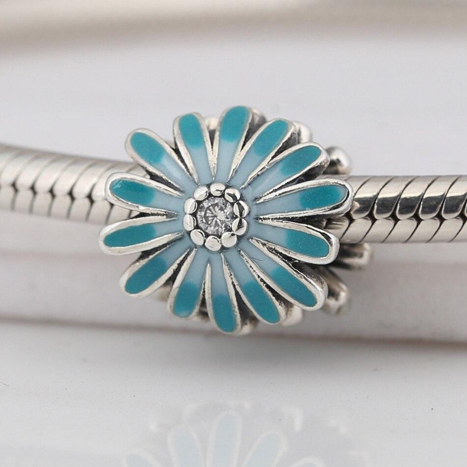 Auténtico S925 cuentas para bricolaje de joyería abalorio floral Margarita azul adecuado para damas pulsera brazalete