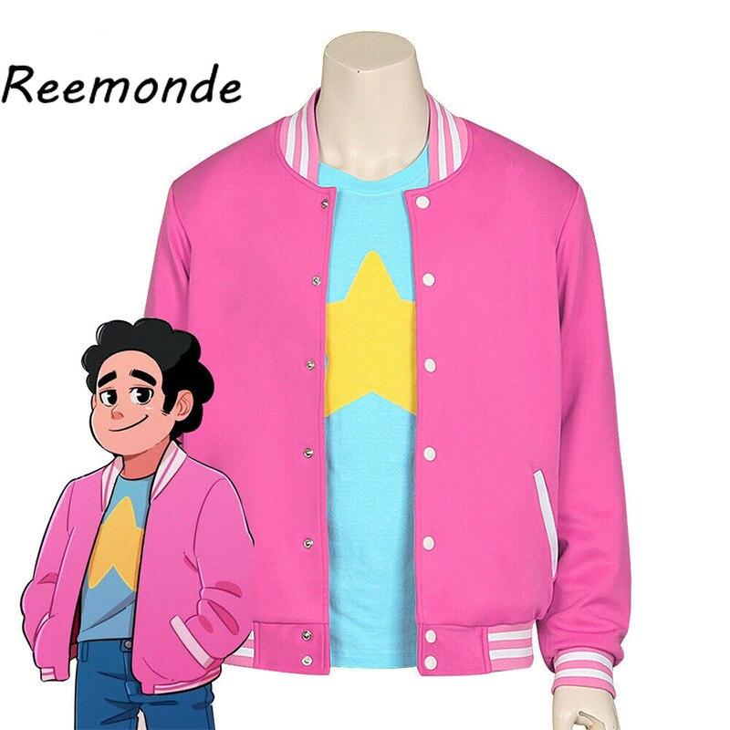 Anime Steven cosplay universo sudaderas con capucha Steven cuarzo chaqueta uniformes otoño hombres Harajuku abrigo de béisbol para mujeres