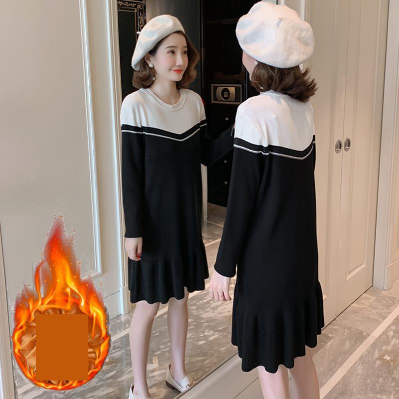 Maternity Winter Dress Breastfeeding Pregnant Sweater Black Color Fleece Linded Nurse Sweater Dress Outer Sweater Dress 1661050 enlarge