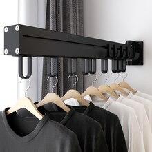 Balcon porte-vêtements push-pull pliant rotatif noir espace aluminium porte-vêtements intérieur et extérieur vêtements rail patères