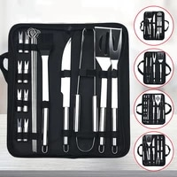 bbq grill tool set stainless steel barbecue grilling tools outdoor camping cooking spatula fork tongs brush skewers set with bag