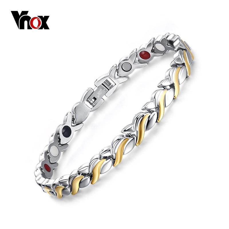 Vnox 7 мм регулируемый Длина здоровья магнитный браслет для Для женщин Нержавеющая сталь с германием ручной цепи