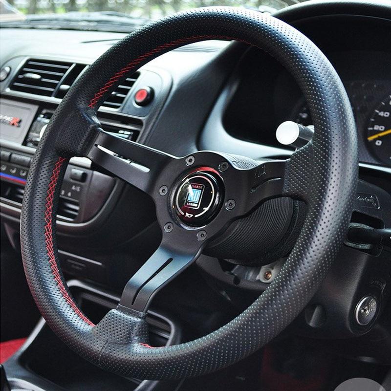 ND Leather Steering Wheel 330mm  black  Steering-Wheel Black Aluminum Spoke Red Stitching 13 inch