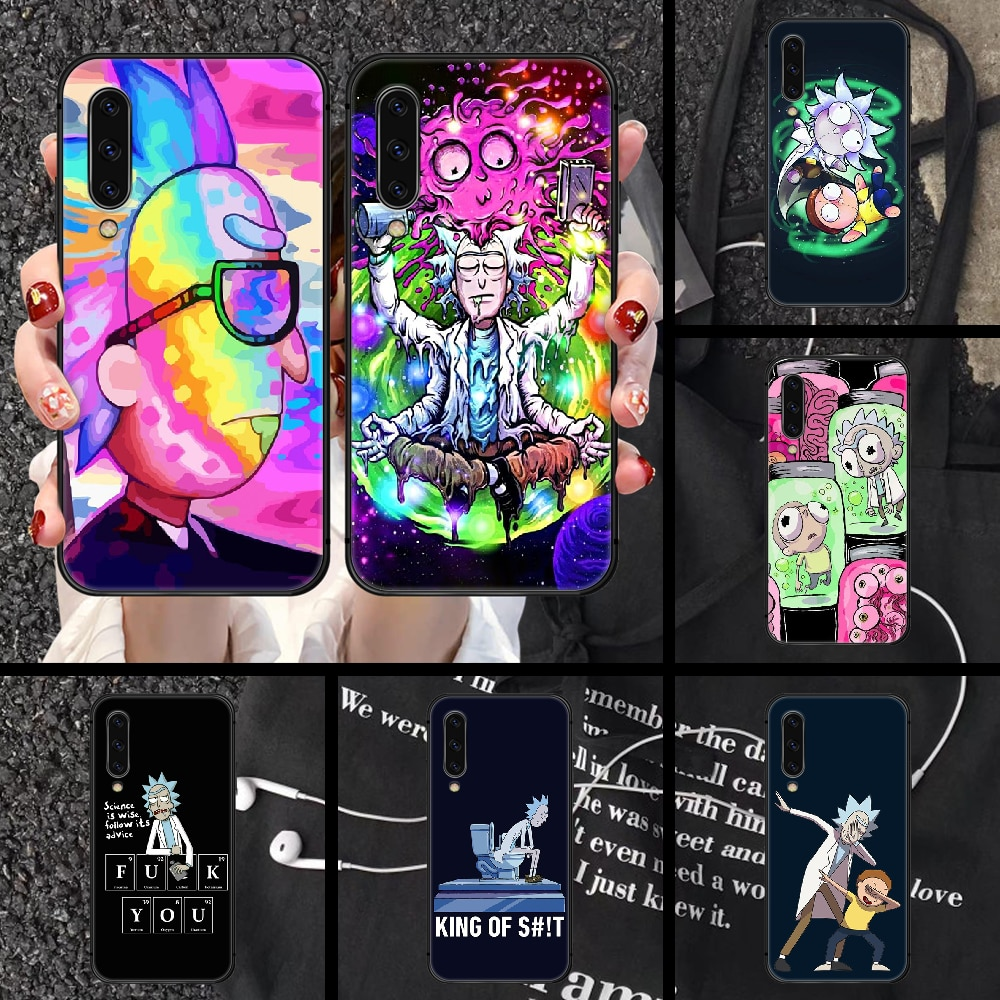 Rick or Morty Anime Phone case For Samsung Galaxy A 3 5 7 8 10 20 E 21 30 S 40 50 51 70 71 black bla