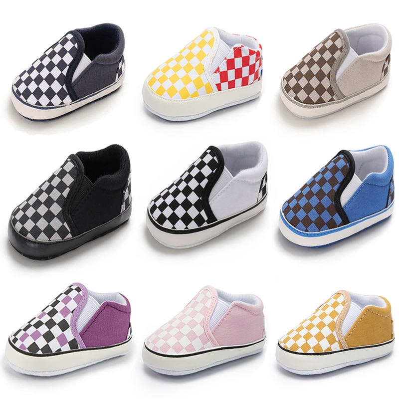 Classical Checkered Toddler First Walker Newborn Baby Shoes Boy Girl Shoes Soft Sole Cotton Casual Sports Infant Crib Shoes