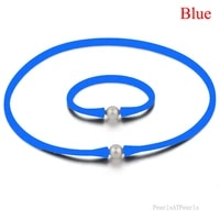 16 inches 10 11mm natural oval pearl blue rubber silicone necklace 7 inches bracelet jewelry set