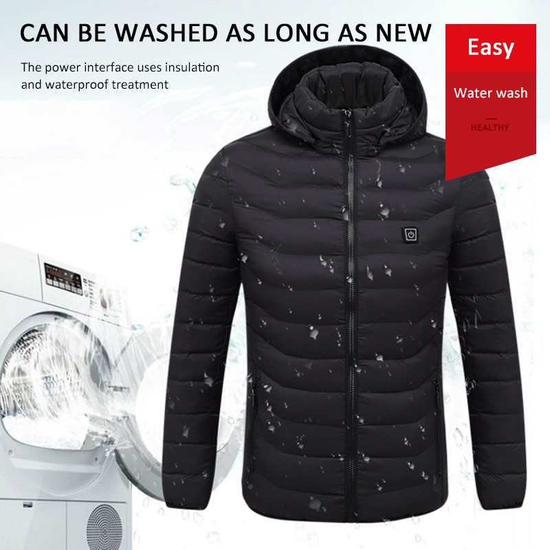 Outdoor Electric Heated Jackets Vest Down Cotton Outdoor Coat USB Electric Heating...