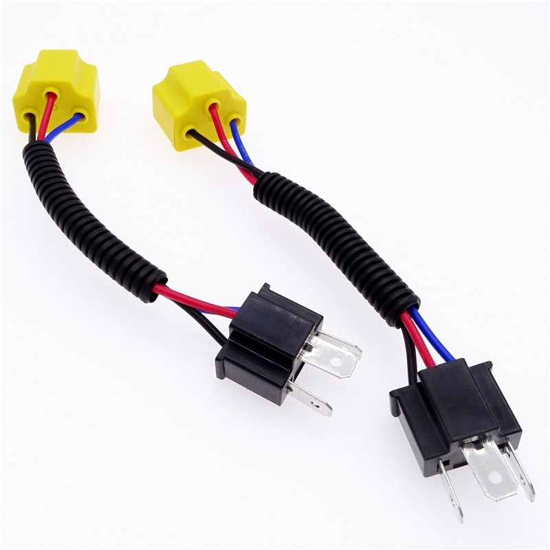 2Pcs Light Socket LED Bulb Adapter Female To Male Wired Harness Adpater Base Kit for H4 Fog Light Bulb Car Accessories