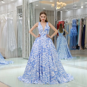 Luxury Plus Size Evening Gown Dresses For Women Blue Formal Dress Women Elegant Gala Gowns Sxey V-neck Backless Party Dress 2019