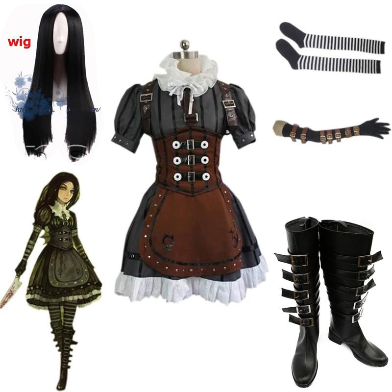 Disfraz de Alice Madness Returns para mujer, disfraz Cosplay de Alicia Steam,...
