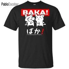 Bawełniana koszulka męska letni top tees zabawna Anime Baka królik Slap japoński prezent czarna koszulka m-xxxl kolorowa koszulka