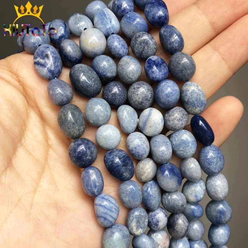 8-10mm Irregular Naturais Contas Azul Aventurina Jade Pedra Solta Beads Para Fazer Jóias DIY Pulseira Brincos Acessórios 15