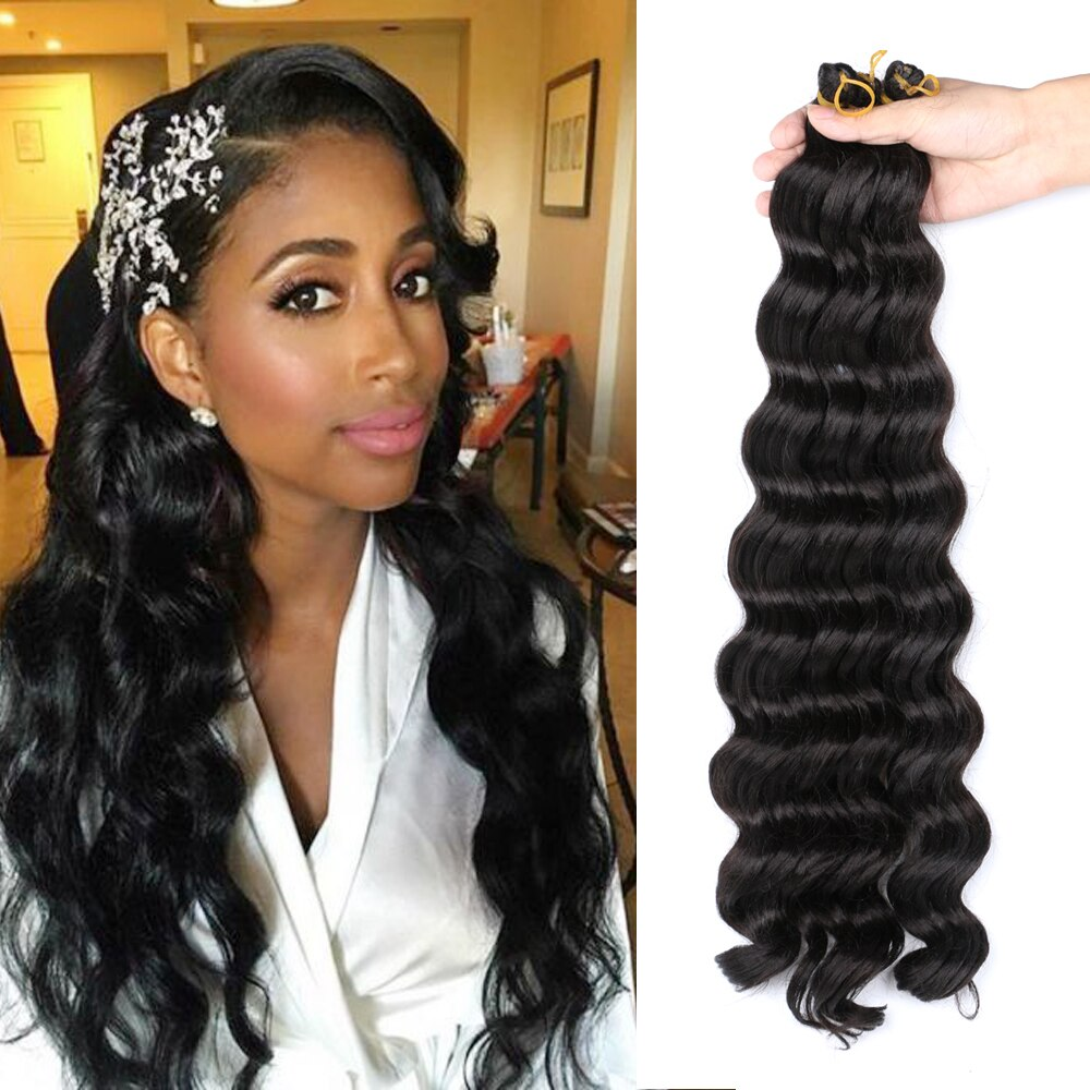 Natifah Synthetic Braiding Hair 20 Inches 80g Long Deep Wave Twist Crochet Curly Ombre Wavy Extensions For Black Women